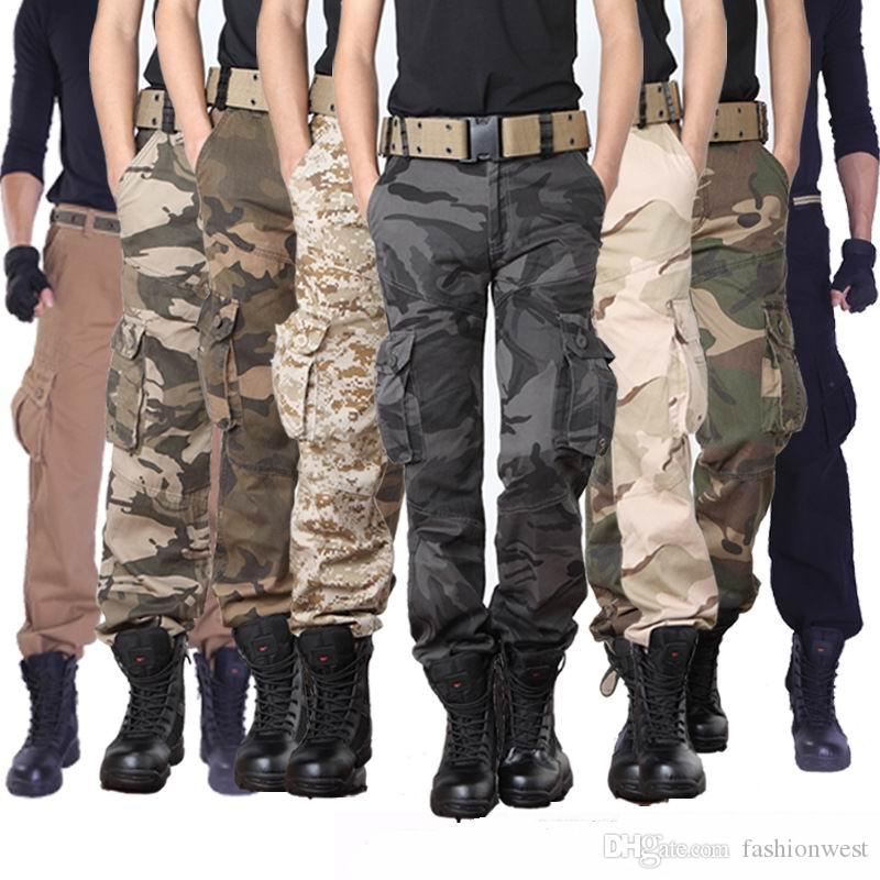 1a8cb20df4579f mens cargo pants Men's Series Polyester Cotton Pants Mens Casual Military  Army Cargo Work Cargo Pants Relaxed Fit MANY SIZES Trousers