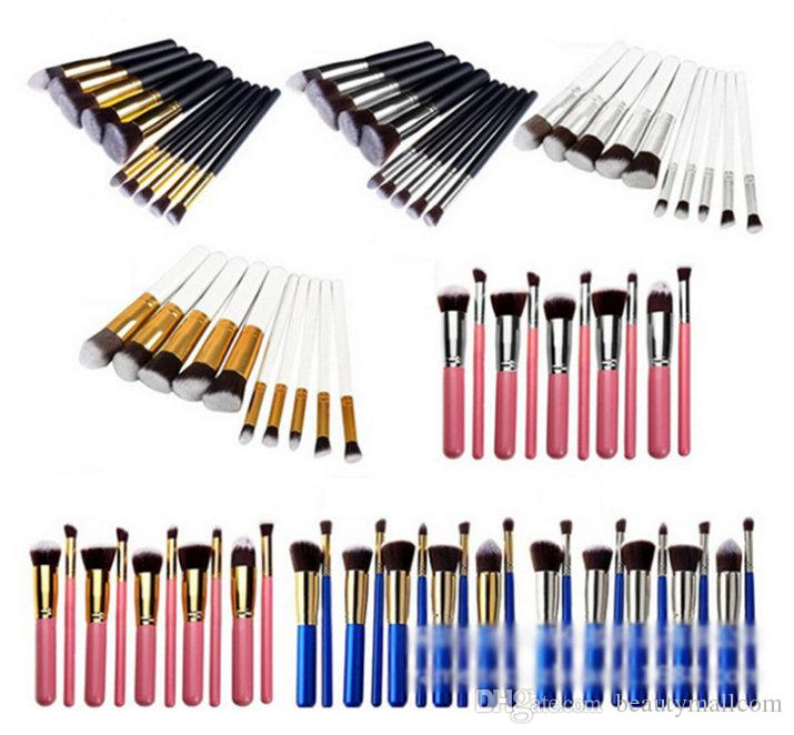 8 colors Superior Professional Soft Cosmetic Facial Make up Oval Brushes Set Woman's Toiletry Kit makeup brushes kabuki brush 10pcs/set DHL