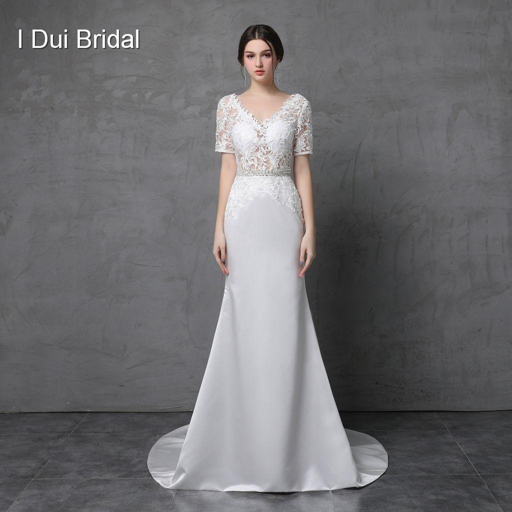V Neck Wedding Gown: Short Sleeve V Neck Lace Sheath Wedding Dresses Low Back