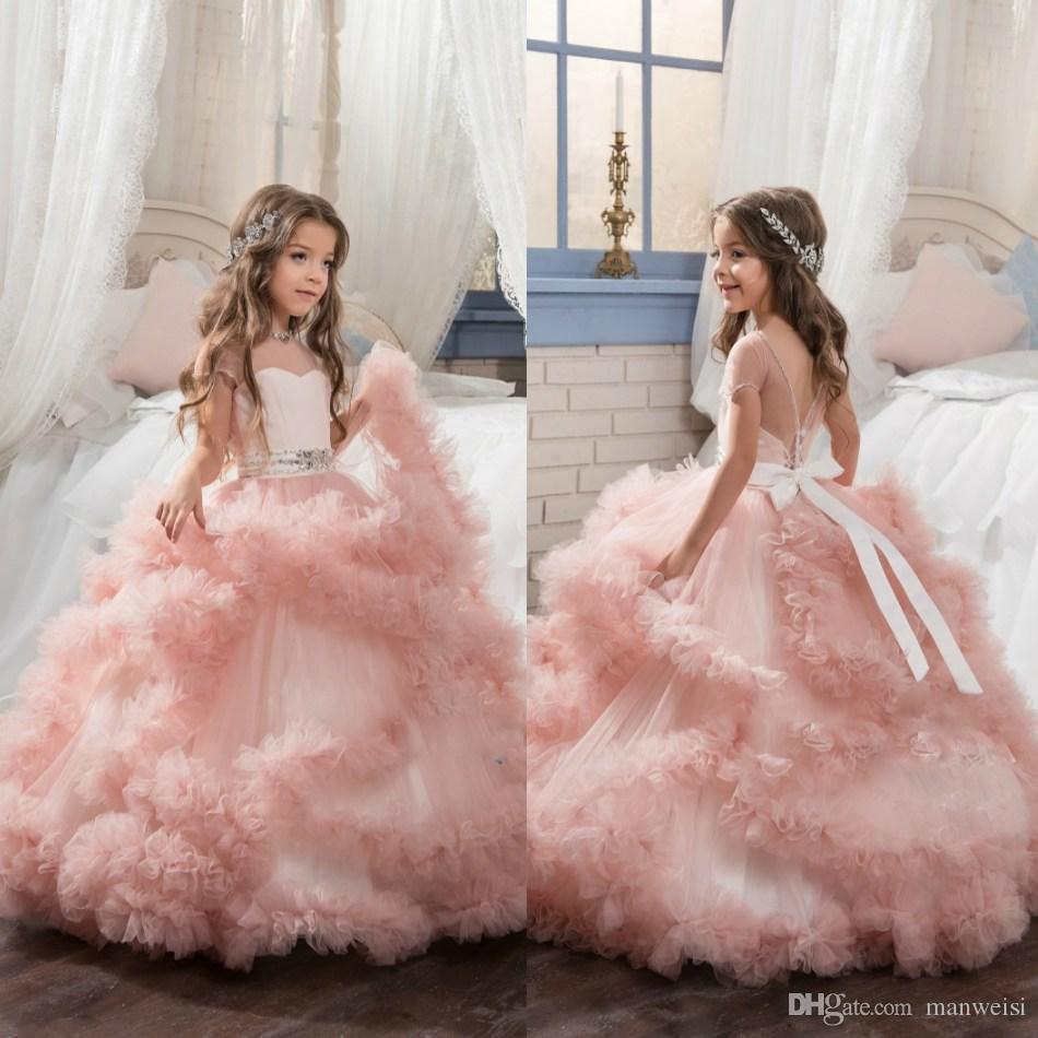 Pink Tulle Ruffle Flower Girls Dresses For Weddings Ball Gown ...