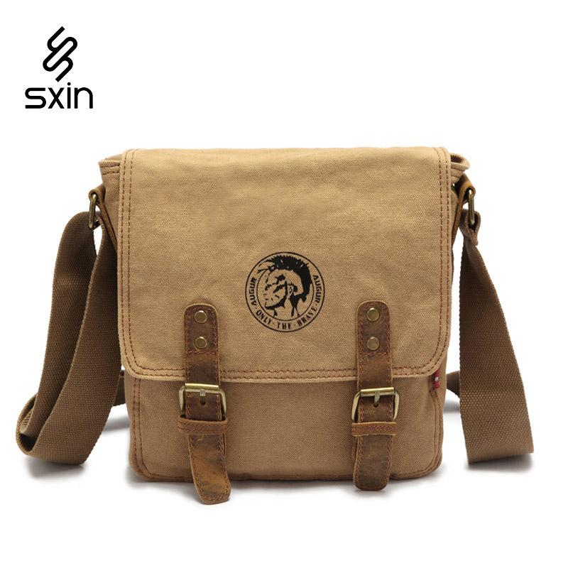 7f18d4bd63 Men S Vintage Canvas Leather School Military Shoulder Bag Fashion Leisure Messenger  Bag Men S Crossbody Bags Hombre Bolso Large Handbags Black Leather ...