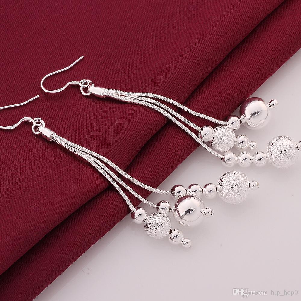 Transfer beads 925 Silver Earring Dangle Chandelier Silver Earrings Simple Long Teardrop-shaped Earrings Fashion Tassel Jewelry Lady Gifts
