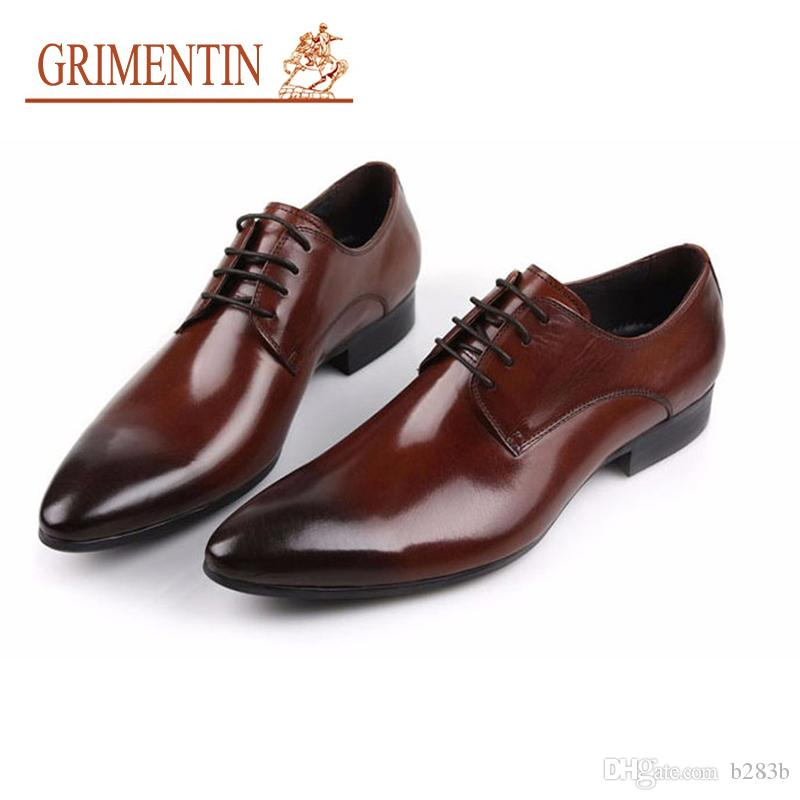 GRIMENTIN Brand Men Shoes Italian Mens Formal Shoes Genuine Leather  Comfortable High Quality Wedding Shoes Male 2018 Size 38 44 2ox27 Slip On Shoes  Mens ... adde88b4f7e