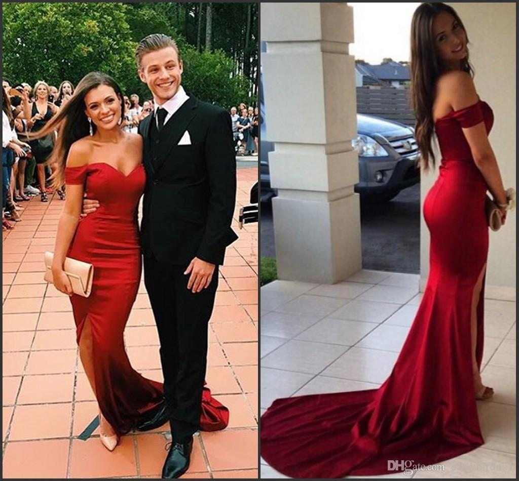 2016 red prom dresses black girl sexy split side couples