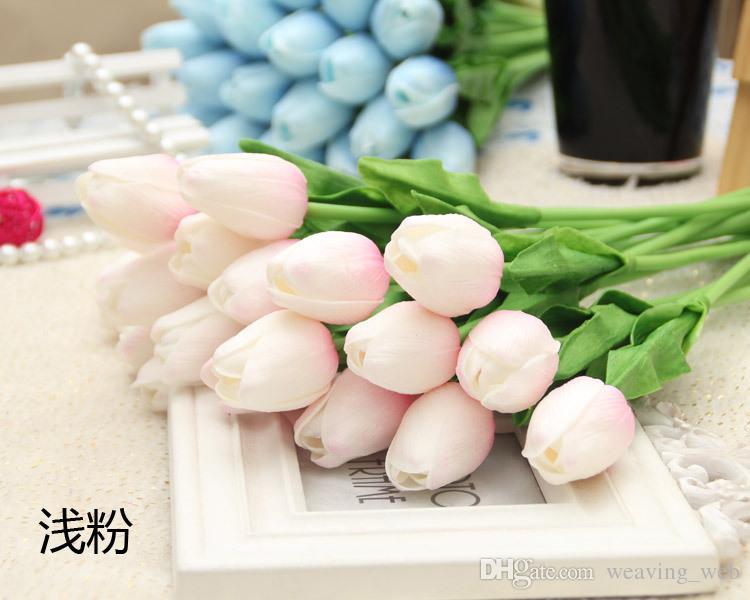 Таблица Спальня украшения тюльпан розовый белый желтый многоцветной PU искусственный тюльпан дисплей цветок Hotsale декоративный цветок