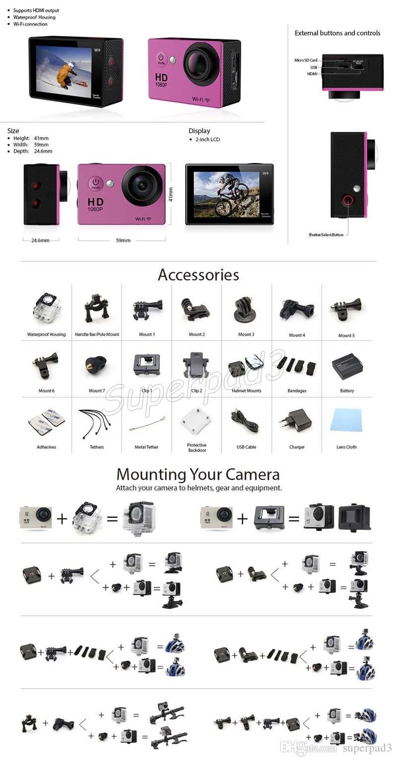 DHL Livre 30 M À Prova D 'Água 4 K Câmera Esportiva SJ6000 Estilo EKEN W9 HD Câmera de Ação de Mergulho Versão Wi-fi 1080 P 2