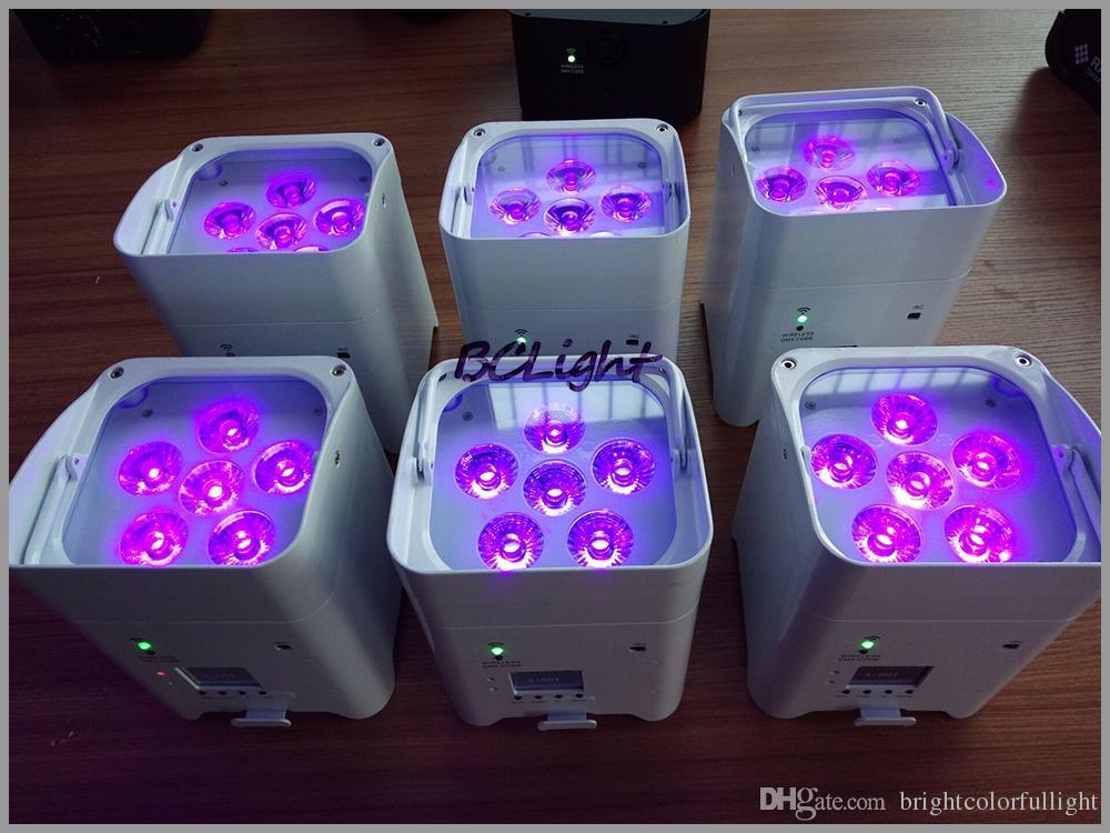 4xLOT 2016 newest Wifi Led Uplight RGBWA UV 6IN1 Battery Powered Wireless DMX LED Par Light for sale 6X18W stage Truss Light