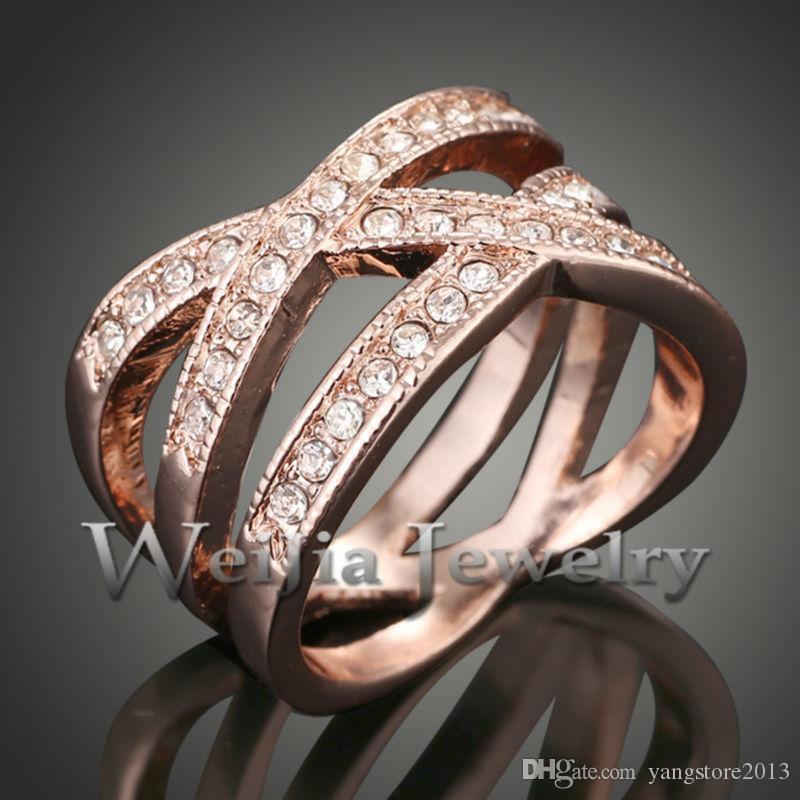 J00780 1 Pz Nuovo 2016 Lega di Moda Austria Cristalli tempestati di anelli in oro 24k gli uomini I migliori regali le donne SPEDIZIONE GRATUITA