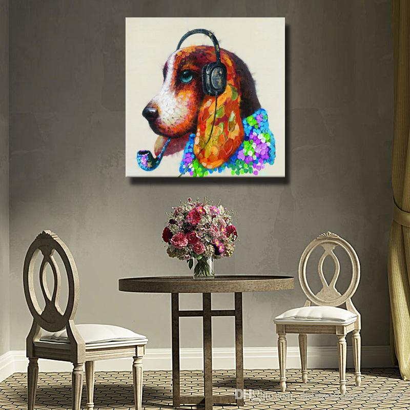 Wall Design Dog Head Oil Painting Canvas Art Pictures for Bedroom Decoration Hand Painted Oil Painting Decorative Pictures No Framed
