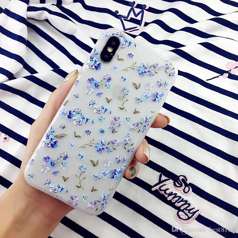 Fashion Flower Frosted Soft TPU Case For iphone X 8 Plus 7 Plus 6 6S Matte Butterfly Unicorn Silicone Gel Phone Transparent Back Cover Skin