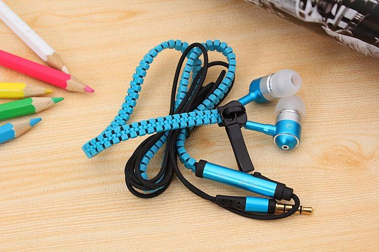 Zipper Earphones Headset 3.5mm Baixo auriculares In-Ear Zip fone Headphone com MIC para Samsung S6 MP3 MP4