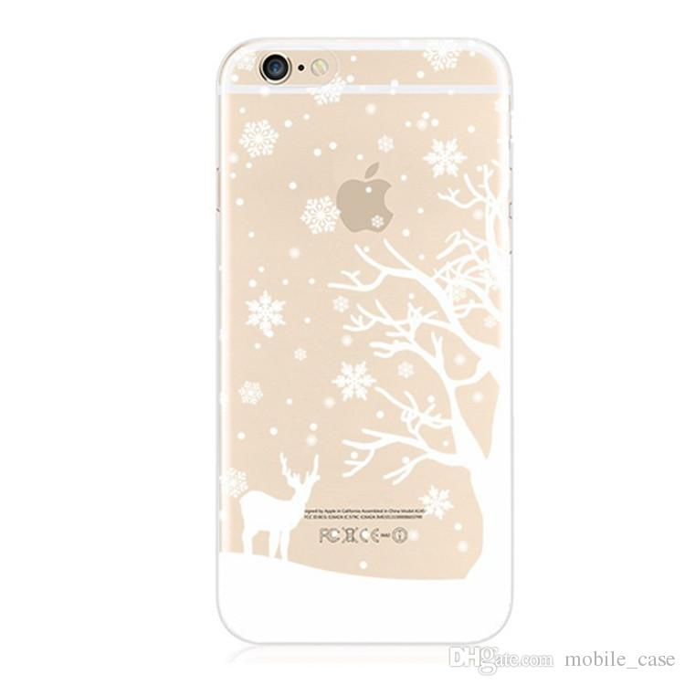 Para iPhone X Claro Funda de TPU Suave Ultra Thin Snowflake Árbol de Navidad Funda de silicona Para Iphone 8 7 Plus 6S Plus 6S 5S