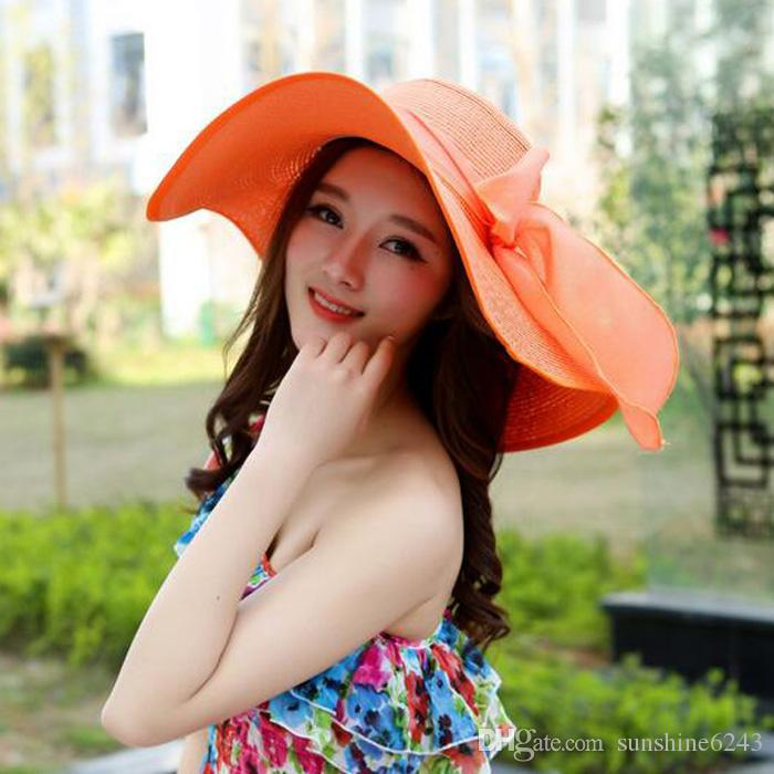 자외선 태양 모자 큰 여드름 밀짚 모자 조수락 축소 태양 모자 여성 여름 태양 해변 모자의 한국어 버전