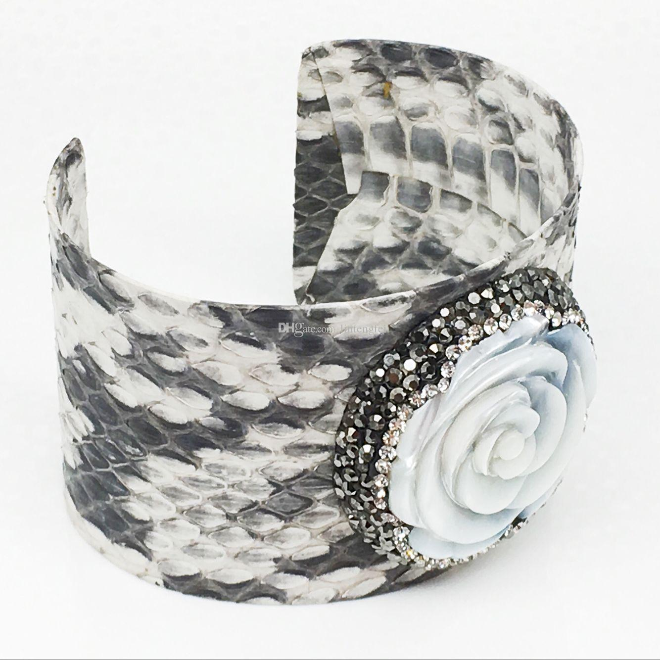 Natural Snakeskin with Shell Bangle Pave Crystal Leather 35mm Bangle Cuff White / Black Snakeskin Fashion Jewelry