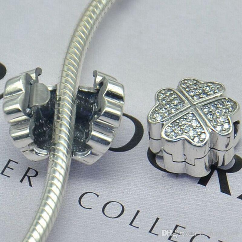 Echt 100% 925 Sterling Silber Clover klar Strass Clip Charme passen europäischen Armband authentische Luxus DIY Schmuck Geschenk