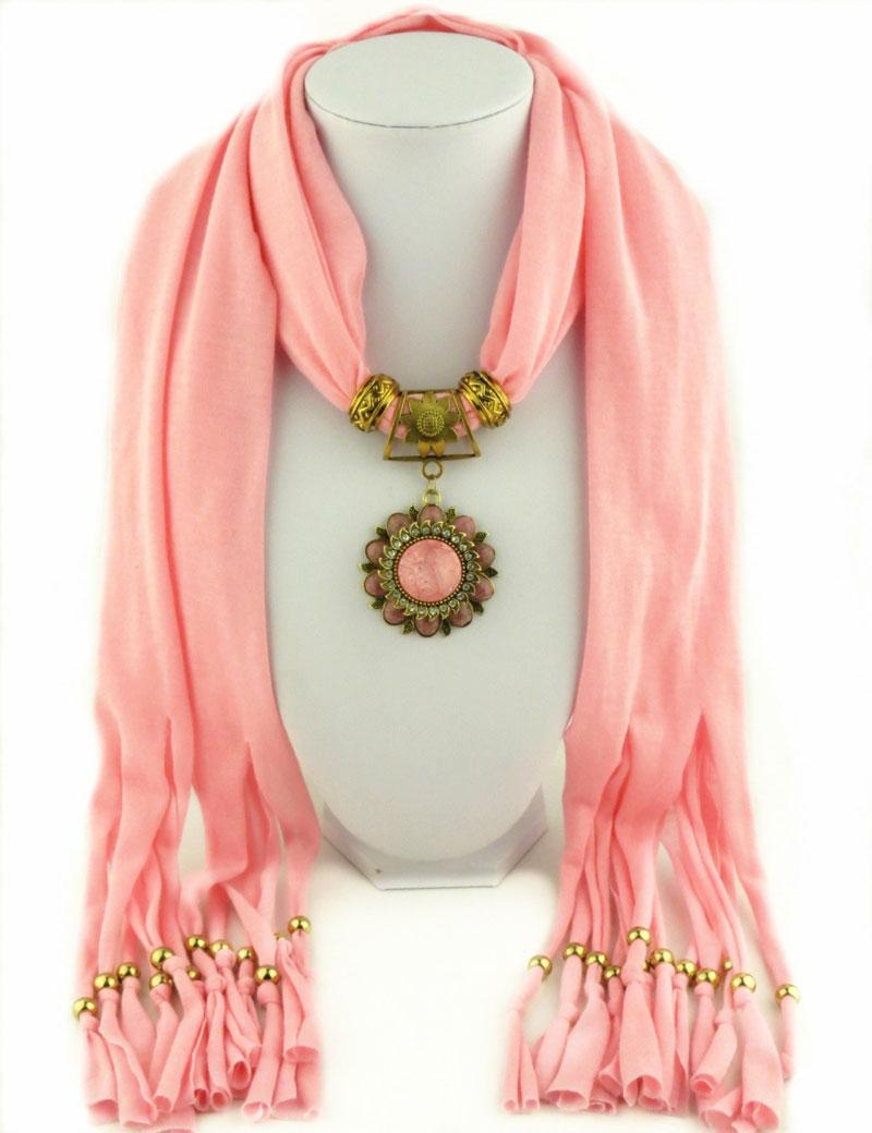 Latest Cheap Fashion Ladies Scarf Direct Factory Turquoise Flower Pendant Jewelry Scarves Women Bohemian Tassel Scarves