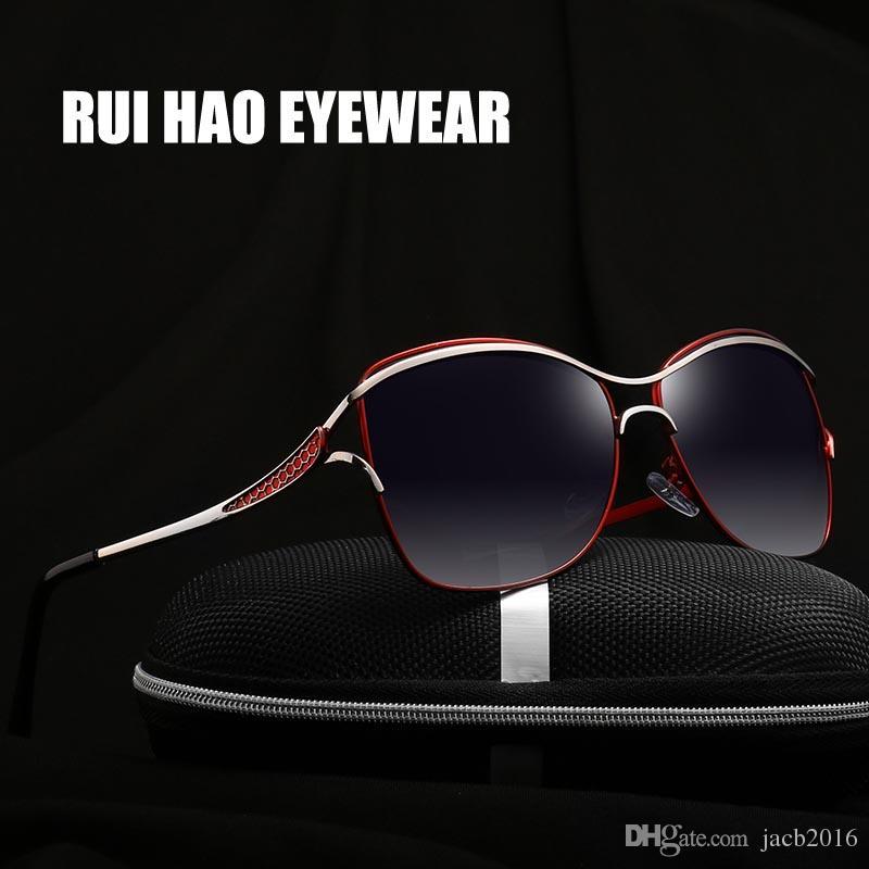 07d027226311a 2017 Women HD Polarized Sunglasses Alloyed Frame Eyewear Eyeglasses ...