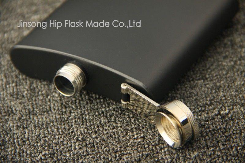 매트 블랙 6 온스 주류 엉덩이 플라스크 나사 캡, 100 % 304 스테인레스 스틸, 레이저 용접, 개인화 된 로고 무료