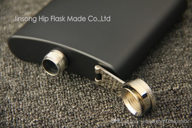 Matt Siyah 6oz Likör Hip Flask Vidalı Kap, 100% 304 Paslanmaz Çelik, Lazer Kaynak, Kişiselleştirilmiş Logo Ücretsiz