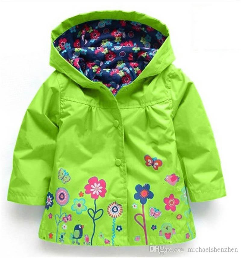 Le ragazze fioriscono l'impermeabile i DHL libero di modo scherza i vestiti delle neonate Cappotto di inverno Giacca impermeabile del fiore l'outwear antivento B001