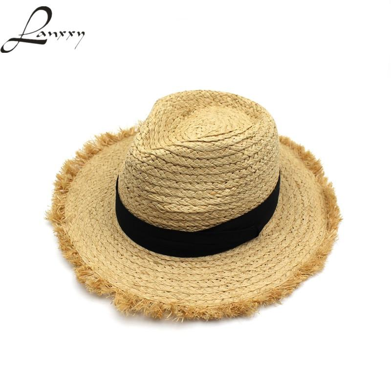 9cae3dcbc2d Wholesale- Lanxxy 2017 New Fashion Tassel Straw Hat Chapeu Feminino ...