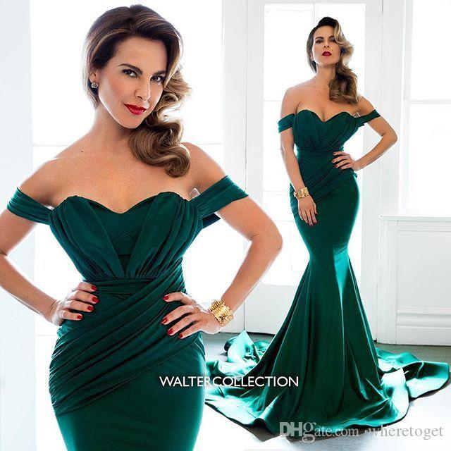 Esmeralda Vestidos de noche formales Hombro Capilla Tren Satén Tallas grandes 2019 Árabes Vestidos largos Vestidos de fiesta de dama de honor Por encargo