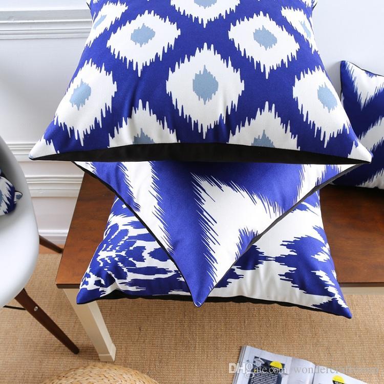 Abstract Geometric Chevron Stripe Floral Cushion Covers Nordic Blue Tone Art Pillow Cover Sofa Seat Chair Decorative Velvet Pillow Case