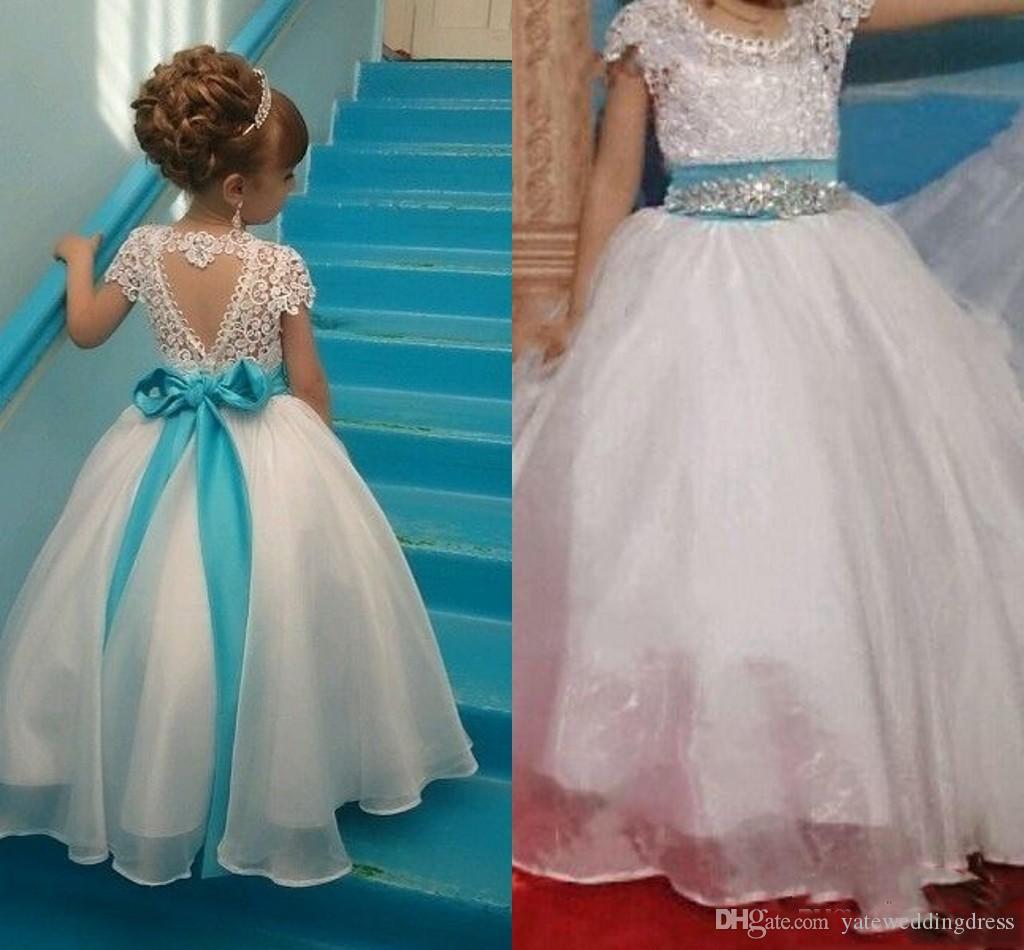 760fac6f0e2 White Little Girls Flower Girls Dresses For Wedding Lace Applique ...