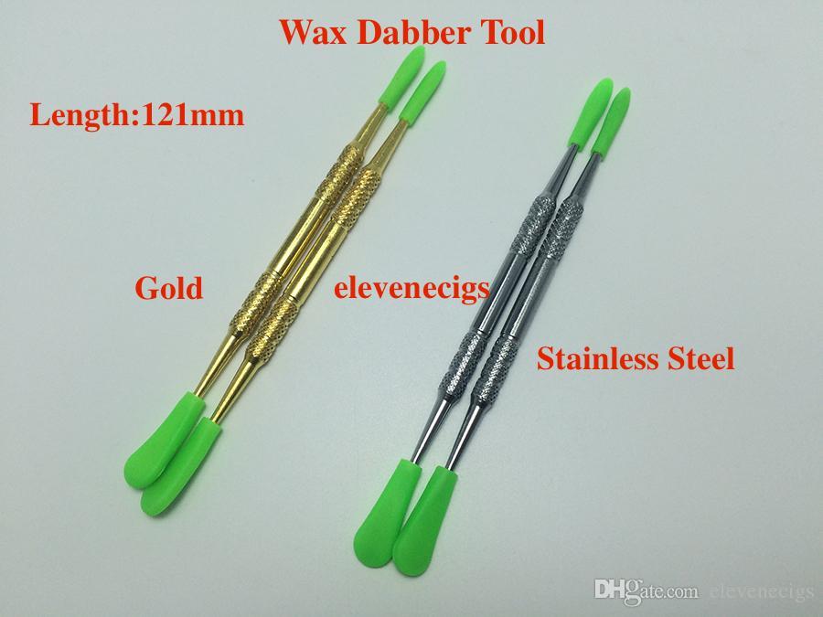 Altın ve Gümüş Renkler Balmumu Dabber Aracı Silikon Kapaklar Ile 121mm 106mm 61mm DAB Araçları Kuru Herb Buharlaştırıcı Kalem için