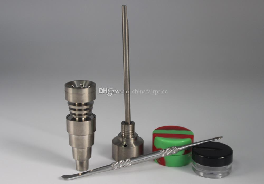 New Bong Tool Set 10/14/18mm Domeless Gr2 Titanium Nail Carb Cap Dabber Dab Rigs Silicone And Plastic Jar Fit Glass Bong
