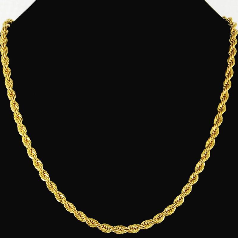 b909bb7f18c7 Compre Cuerda Cadena 18k Sólido Oro Amarillo Relleno Para Mujer Collar Para  Hombre Cadena 24