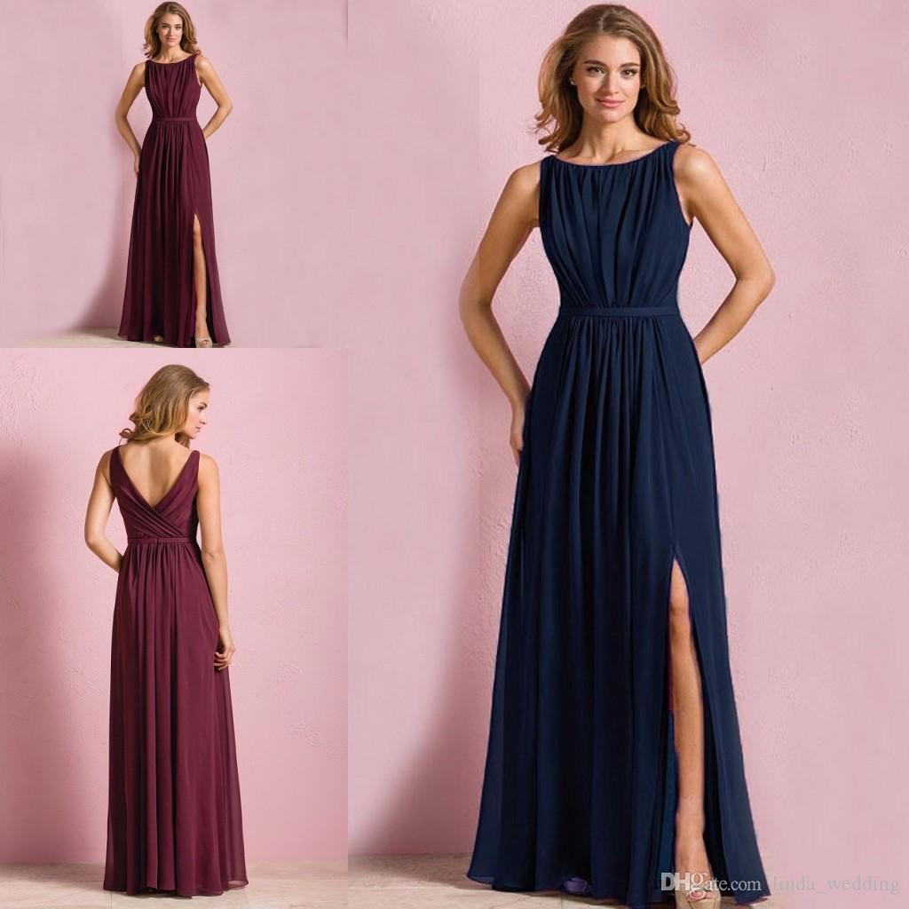Dark Navy Blue Wine Red Colored Bridesmaid Dress A Line Chiffon ...