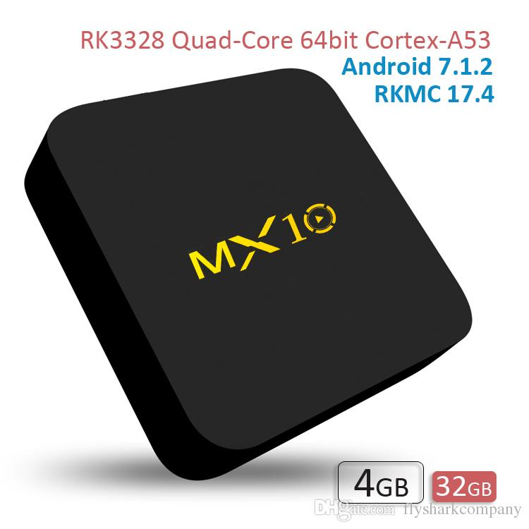 Android TV Box MX10 4GB RAM 32GB ROM 4K IPTV Android7 1 2 4G WiFi RK3328 TV  Box Smart Media Player
