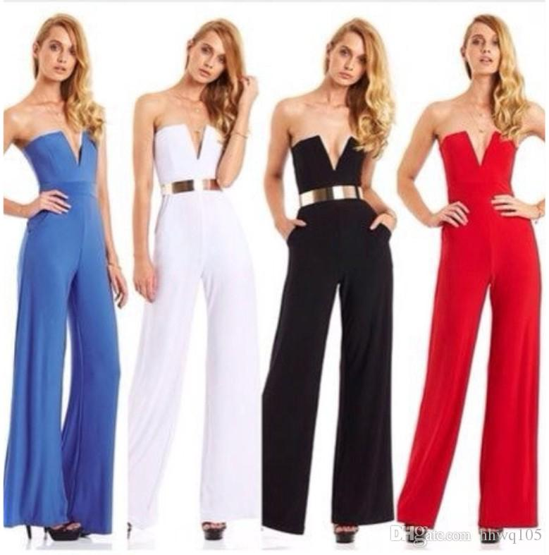 8059ab25d20a Ladies Evening Party Long Jumpsuit Strapless Wide Leg Jumpsuits Playsuits  Black White Red Summer Rompers In Stock ZSJF0320 Strapless Jumpsuit Flare  Jumpsuit ...