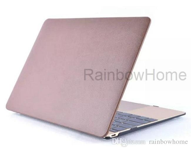 PU Leather Skin + PC Plastic Case Cover Protective Shell for Macbook Air Pro 11 12 13 15 inch Laptop Rubberized Glitter Protector