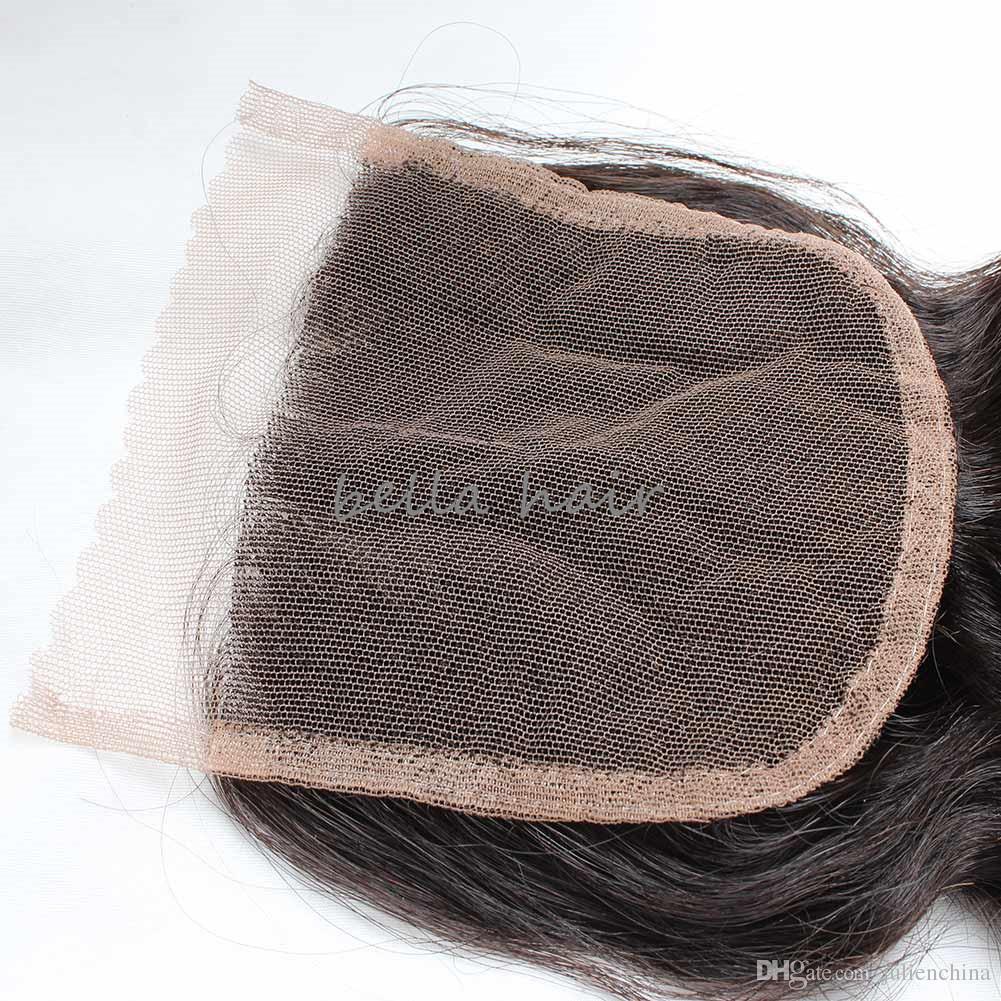 Peruvian 4 * 4 Middle Part Loose Wave Transparent HD Lace Closure Human Hair Closesures Weaves Natural Color Bellahair