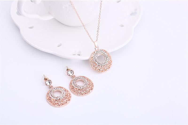 Earrings Necklace Jewelry Set Exquisite High Grade Fashion Women Rhinestone 18K Gold Plated Hollow Out Party Jewelry 2-Piece Set JS287