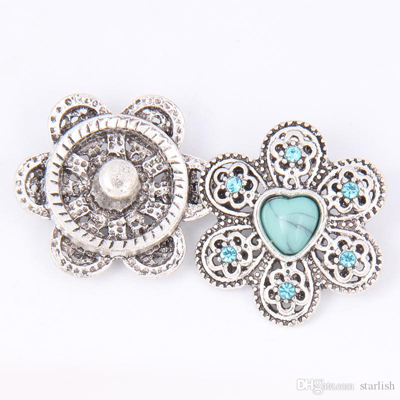18MM Metal Rhinestone NOOSA Ginger Snaps Jewelry Interchangeable snap button chunks Charm Jewelry