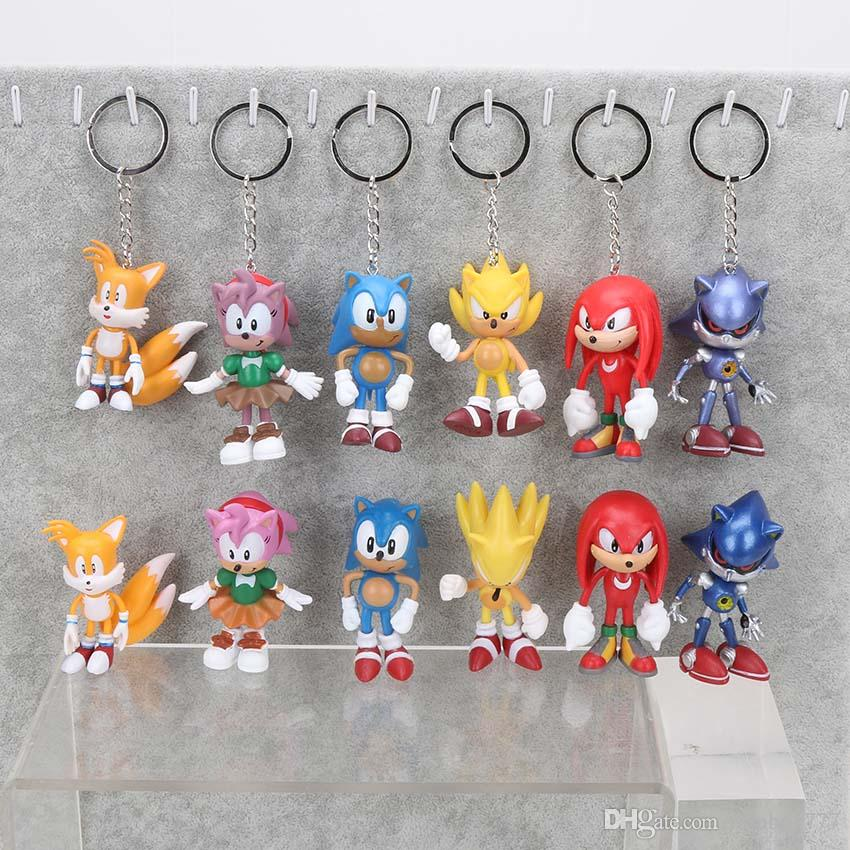 3inch 7cm SEGA Sonic the Hedgehog Figure Toy PVC toy Sonic Characters figure toys brinquedos Doll 6pcs/set christmas gift for children