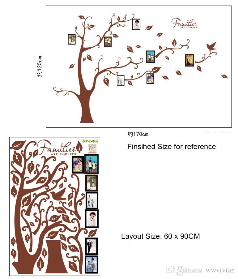 Family Tree Picture Frame Wall Stickers Living Room Bedroom Home Decor Wall Mural Poster Family Forever Wallpaper Quote Decoration Graphic