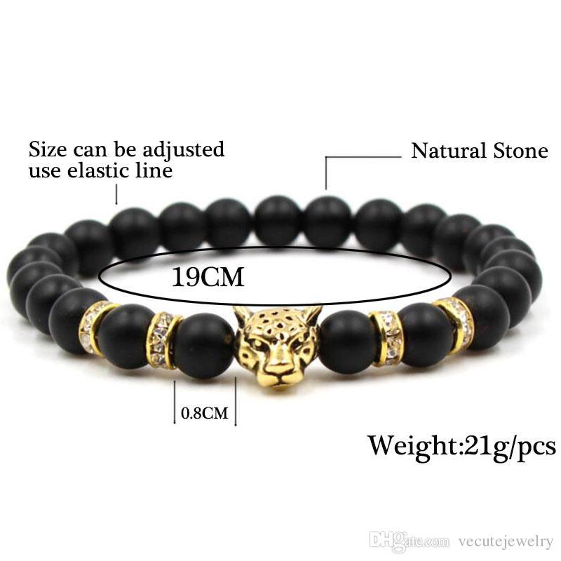 Pietra naturale nera perline Leopard Strand Bracciale Uomo Gioielli Bangles animale Homme Femme Catena etnica Accessori fatti a mano Prezzo all'ingrosso