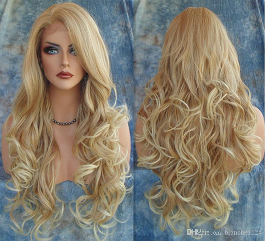 Hot Long Wavy Synthetic Wigs 2016 Fashion Costume Hair Wigs Charming Curly Blonde  Wigs For Women JF024 Natural Lace Front Wigs A Wig From Blanche1124 2391a90dd168