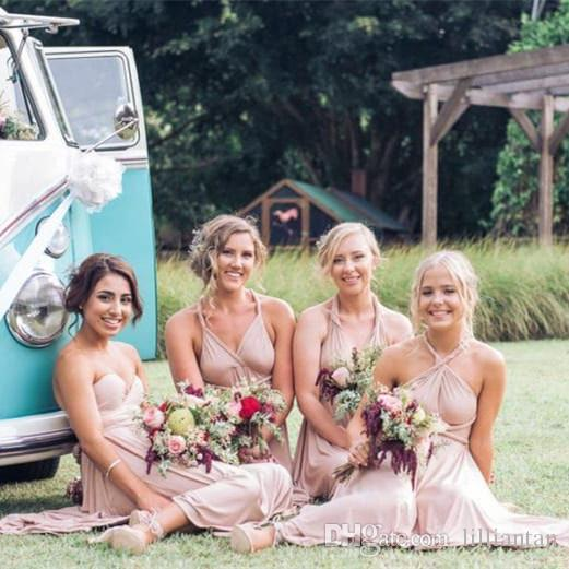 Country Wedding Short Bridesmaid Dresses Western Nude Dress Four Styles Wearing A Line Knee Length Halter Strapless Bridesmaids Navy