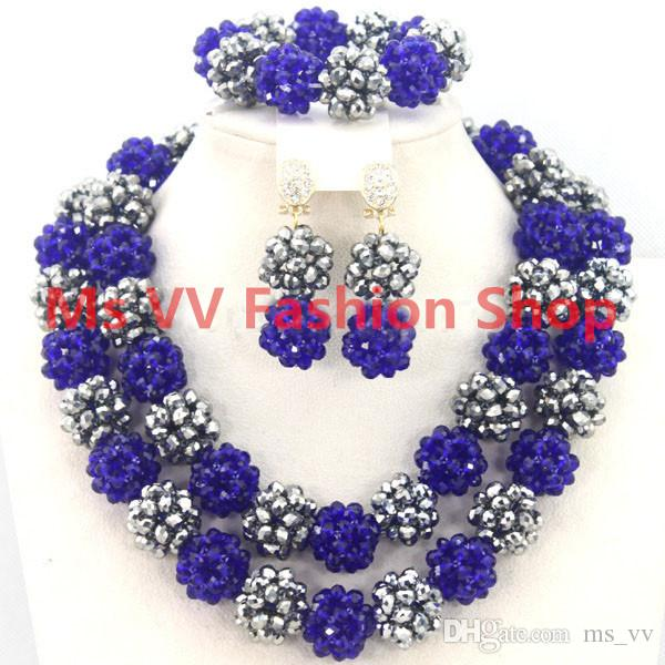 delicate jewelry sets blue Silver Jewellery Gemstone african Style Nigerian Wedding Crystal Beads Necklace Sets Party Women Gift G01