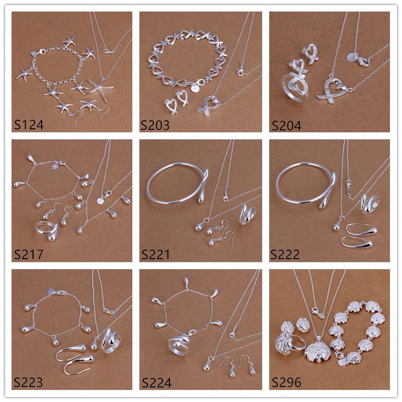 prata esterlina venda das mulheres quentes de jóias conjuntos de 6 conjuntos A EMS61 muito estilo misto, moda prata 925 Colar Pulseira Brinco Anel conjunto de jóias