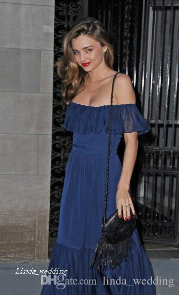Royal Blue Миранда Керр Вечернее платье Новое сексуальное с плеча шифон длинное вечернее платье Celeybrity платье