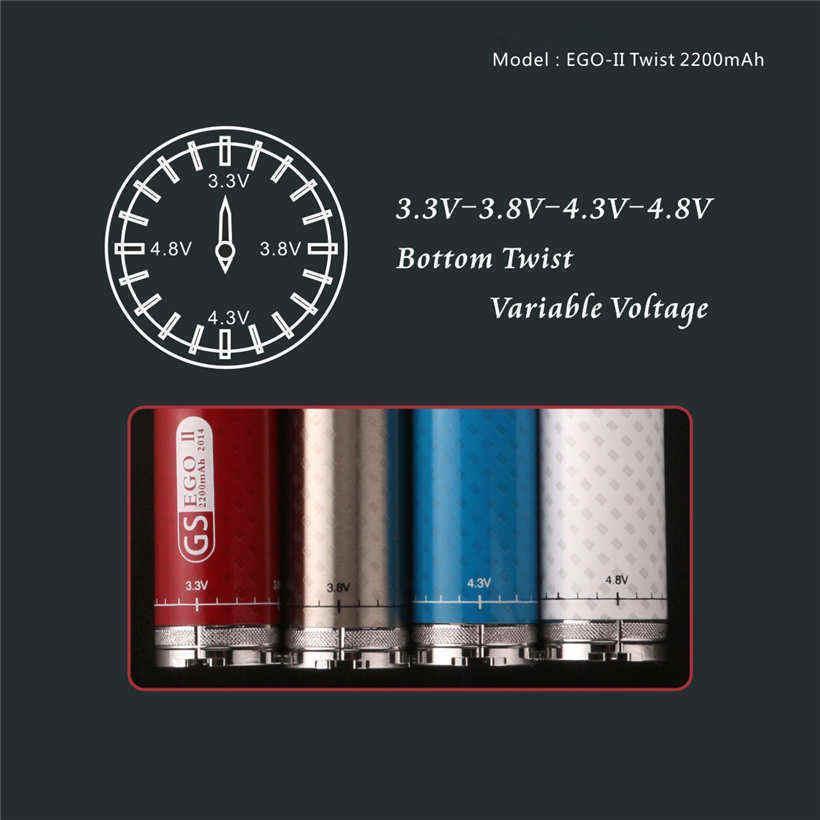 2200mah Variable Voltage Ecig Battery GS Ego II Twist 2200 mAh VV Batteries Bottom 3.3V-4.8V Adjustable Carbon Fibre Spin Vaporizer Pens