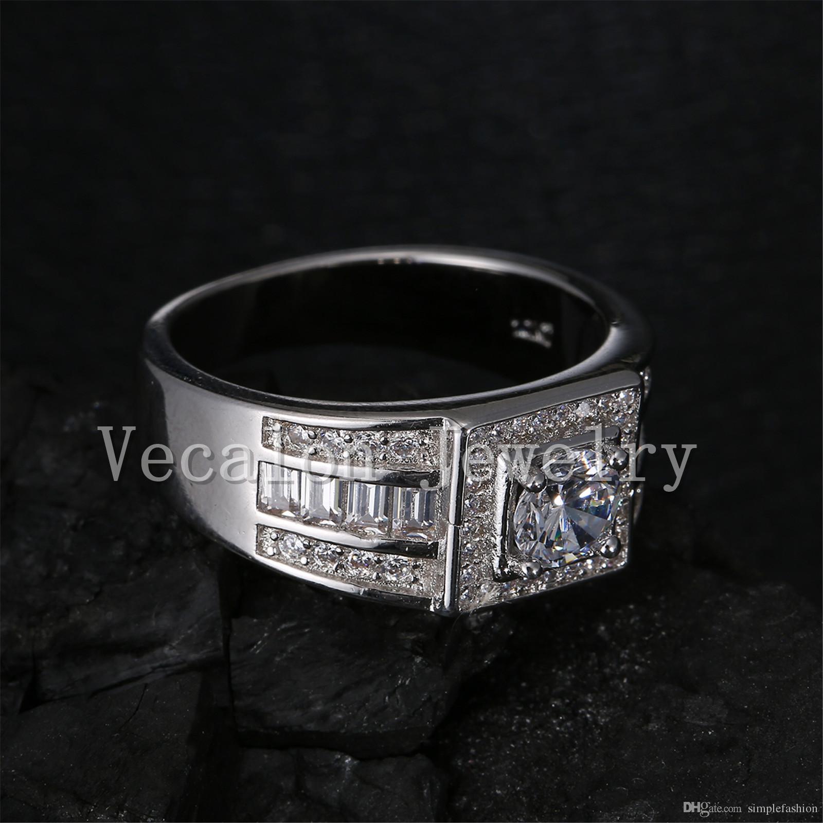 Vecalon Fashion Men Anello di fidanzamento Solitario 1ct Cz Anello di diamanti simulati 10KT Anello di nozze in oro bianco Riempito uomini Sz 7-13