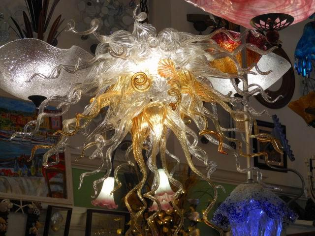 New Arrival Home Art Decoration LED Pendant Light Flower Shape Ceiling Lamp Hand Blown Murano Glass Chandelier