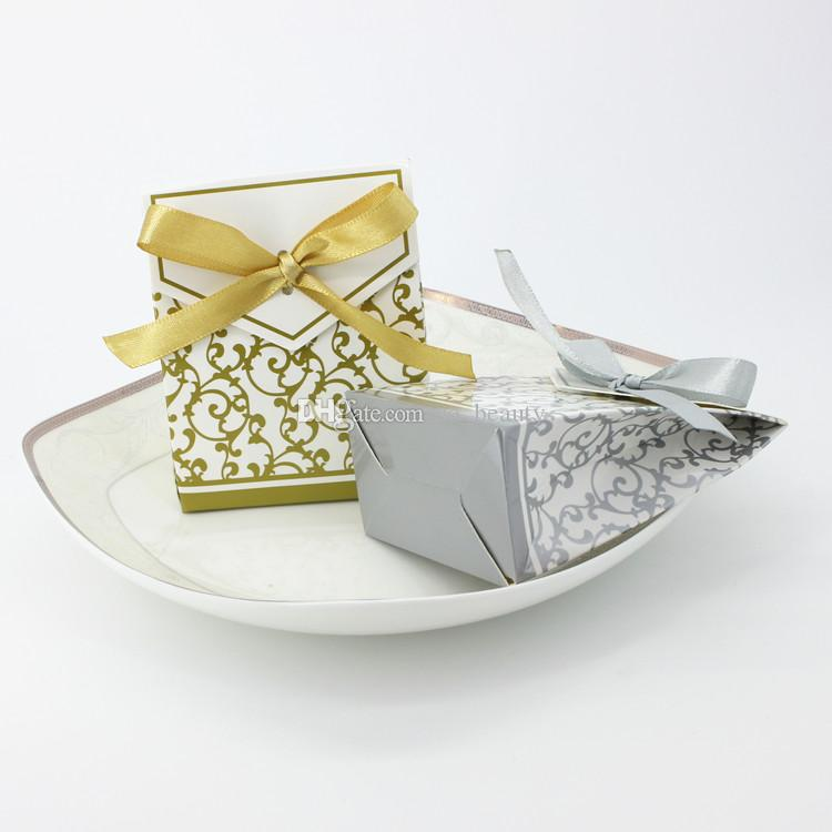 Gold Candy Boxes Wedding Faovrs Christmas Anniversary Party Gift Box or Silver Color